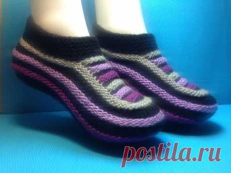 Knitting by spokes #64 house-shoes