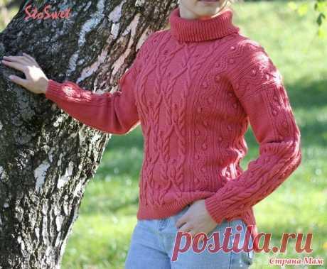 Женский свитер спицами с косами и аранами - Вязание - Страна Мам