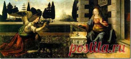 Картина Благовещение. 1472-75. В этой большой картине Леонардо основывался, главным образом, на иллюстрированных Библиях 15-ого столетия: Архангел Гавриил становится на колени в саду Девы, ( Лука 1.26-38) которая получает его известие и узнает, что она выбрана, чтобы родить Сына Бога.  Сцена справа- соответствует архитектуре того времени. Средняя часть огорожена низкой стеной, достигающей высоты колена, с маленьким открытием в центре. Это открытие, которое служит фоном жесту приветствия Гаври