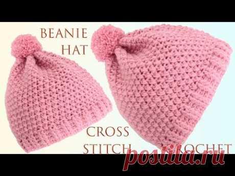 Gorro fácil a crochet para principiantes imitación punto cruz bordado a mano