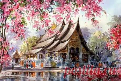 Таиланд в акварельных картинах Thanakorn Chaijinda Таиланд в акварельных картинах Thanakorn Chaijinda Тайский художник пишет акварели, посвящая их родине.  Танакорн Чаиджинда (Thanakorn Chaijinda) живет в Бангкоке, где рисует прекрасные акварели, на к…