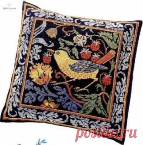 Птица в клубнике - Птицы - Схемы вышивки - Иголка