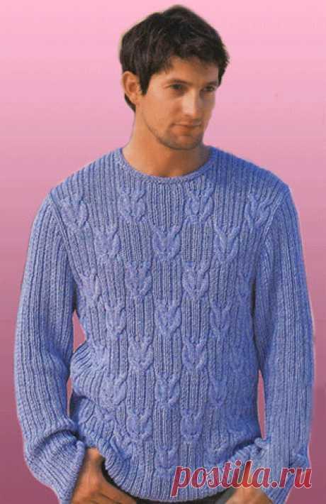 Вязаный мужской пуловер Морские узлы в резинку с косами. Вязаный мужской пуловер Морские узлы в резинку с косами. В статье представлены подробное текстовое описание вязания спицами данной модели и схема узора.
