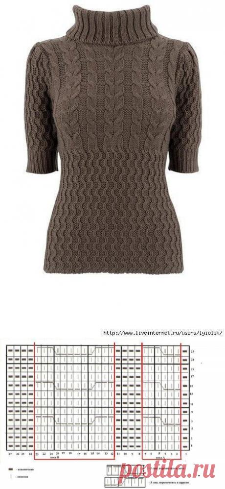 Красивые узоры для уютного свитера с воротником гольф — Сделай сам, идеи для творчества - DIY Ideas