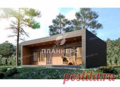p1528gch – готовый проект небольшого одноэтажного дома с плоской крышей до 100 кв м
