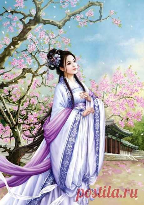 Любование сакурой — сбор пазла — Пазлы онлайн