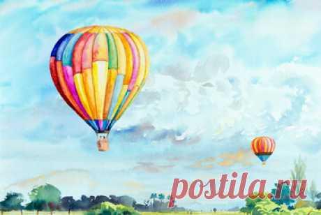 Воздушные шары летучий летний пейзаж | Премиум векторы