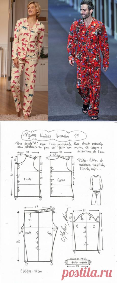Пижама, выкройка на размеры с 36 по 50 (евр.). — Мой милый дом