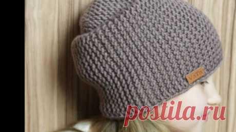 Супер модная в этом сезоне шапка Бини вяжем спицами. Порадуйте себя такой обновой. | Тысяча и одна идея