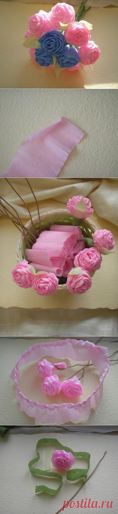 Нежные розы из гофрированной бумаги — Сделай сам, идеи для творчества - DIY Ideas