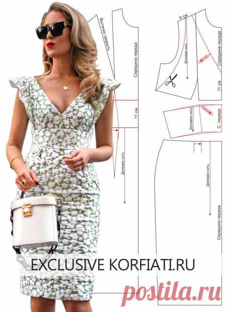 Выкройка платья с крылышками в рельефных швах - идеальная модель для любого случая! Подробные чертежи выкроек бесплатно. Супер-идеи для самостоятельного пошива