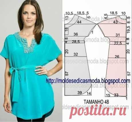 Идеи для любителей шитья - блузки, туники - легкий крой