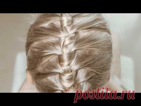 Простая и Быстрая прическа за пять минут на 1 сентября Французская коса круговая Прически девочкам - YouTube