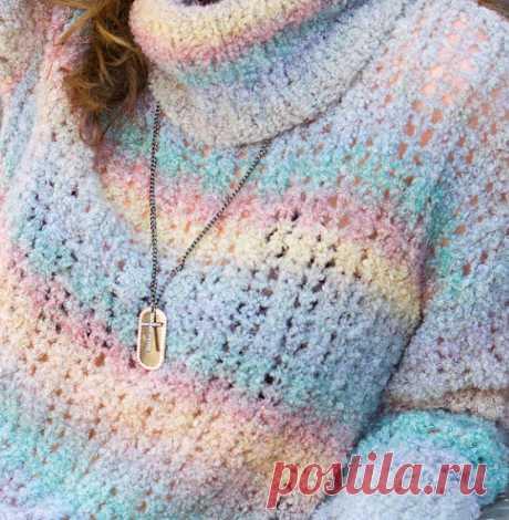 ВяЗаНоЧкА: Ажурный пуловер из буклированной пряжи секционного крашения