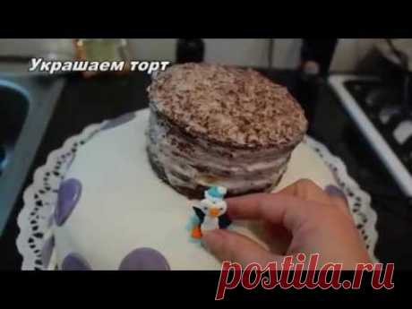 Astounding cake from a chocolate biscuit and with yogurt cream