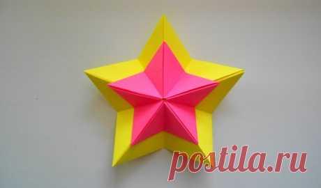 Объемная звезда из бумаги - как сложить + шаблоны (схемы) для вырезания