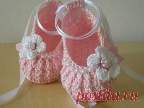 Пинетки-тапульки для малышей крючком - Perchinka63