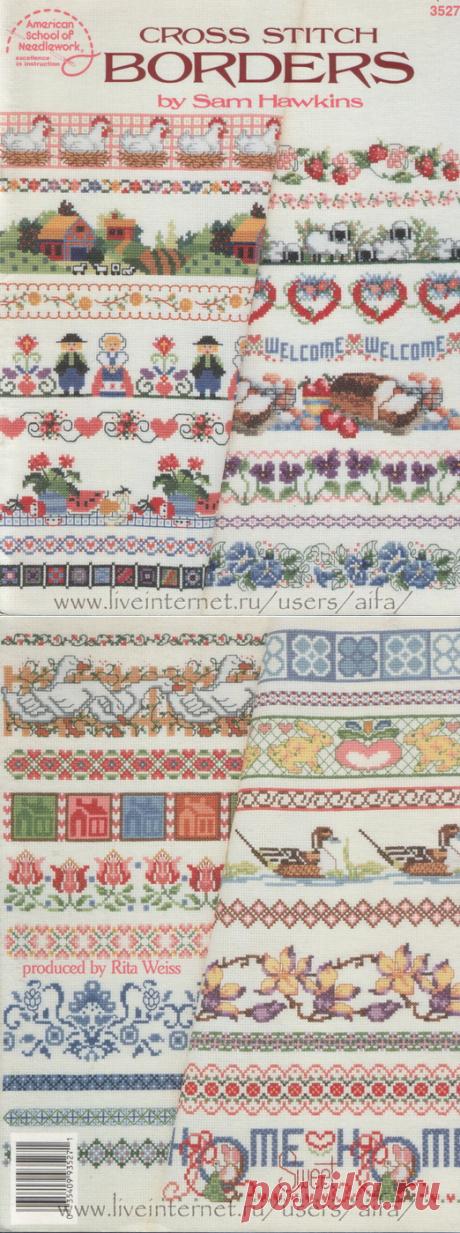 Embroidery cross, schemes Borders, booklet of Sam Hawkins Borders 3527