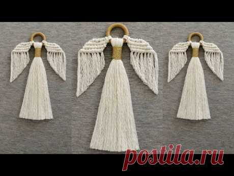 DIY ANGEL en MACRAME (paso a paso) | DIY Macrame Angel Tutorial - YouTube Ангел. Шнур 5мм. 8х50см. Шнур 5мм. 6х45см. Золотистый  тонкий шнур 70см.