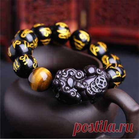 Obsidian 12mm Bead Bracelet / Six Character Mantra Amulet Bracelet / Black Obsidian / Men's Bracelet / Men's Beaded Bracelet Product Details:  Material: Obsidian  Colour: Black  Shape: round  Size: 12mm  Translucent: translucent  Symbol: Good luck to you