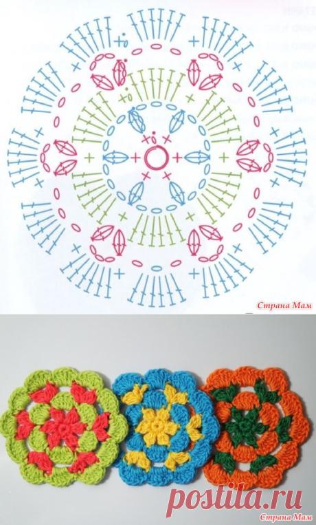 Вяжем крючком цветок-салфетку - Вязание - Страна Мам