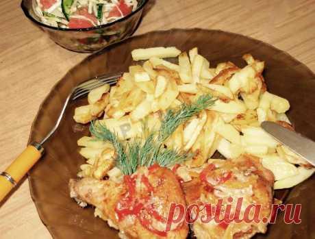 Курочка запеченная в духовке на овощной подушке рецепт с фото пошагово - 1000.menu