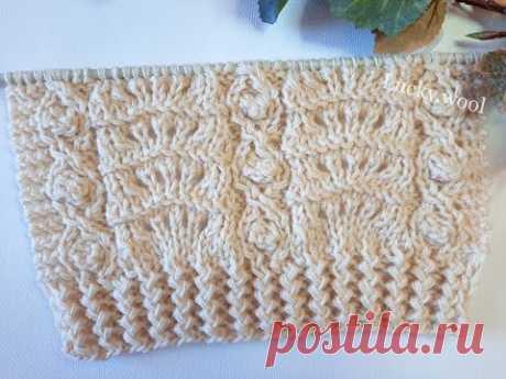 Комбинированный узор спицами для вязания пуловера, джемпера, свитера.