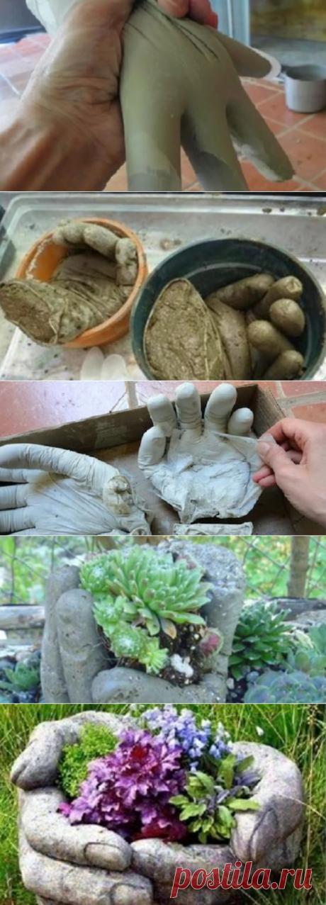Этот мужчина вылил цемент в резиновые перчатки. Что же из этого получилось?