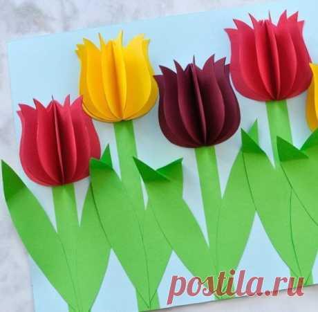 Объемные тюльпаны из цветной бумаги — Сделай сам, идеи для творчества - DIY Ideas
