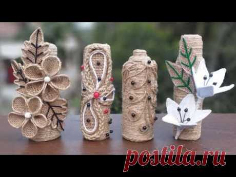 4 style perfume bottle decoration ideas | home decorating jute bottle decoration | jute burlap craft