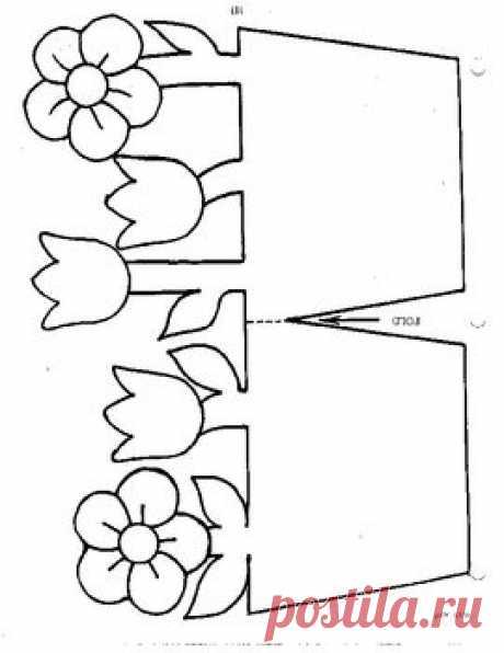 Открытка для мамы с шаблонами цветов, картинки