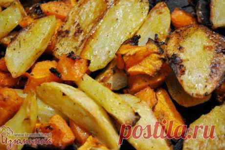 Картофель в духовке, запеченный с тыквой
