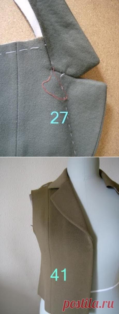 Техника шитья лацканов на пальто. Очень подробный МК фото