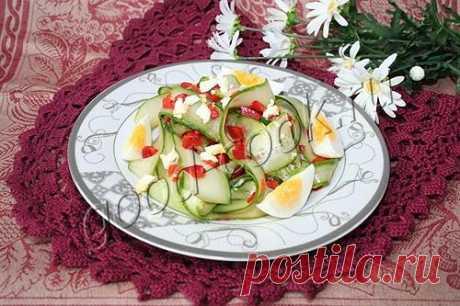 летний огуречный салат, рецепт приготовления