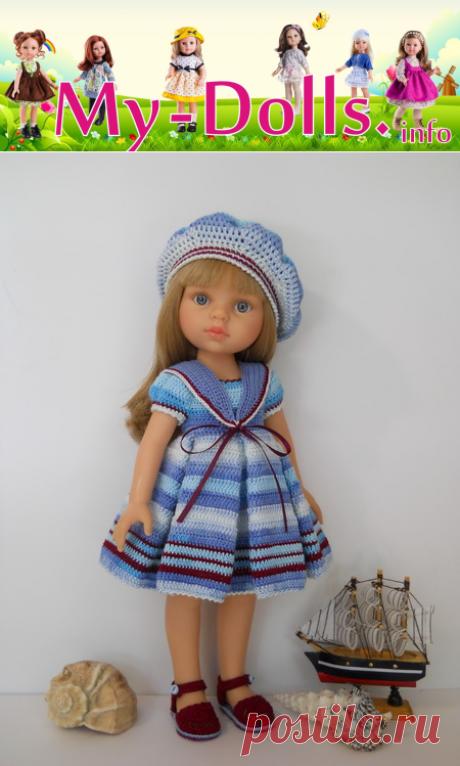 """Комплект одежды """"Капитанская дочка"""" для кукол Paola Reina связаный по мастер-классу Оксаны Лифенко. Работа и обзор Ольги Портновой."""