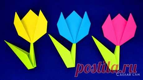 Как сделать тюльпан из бумаги своими руками. Оригами Цветы | Сделай Сам www.sdelay.tv