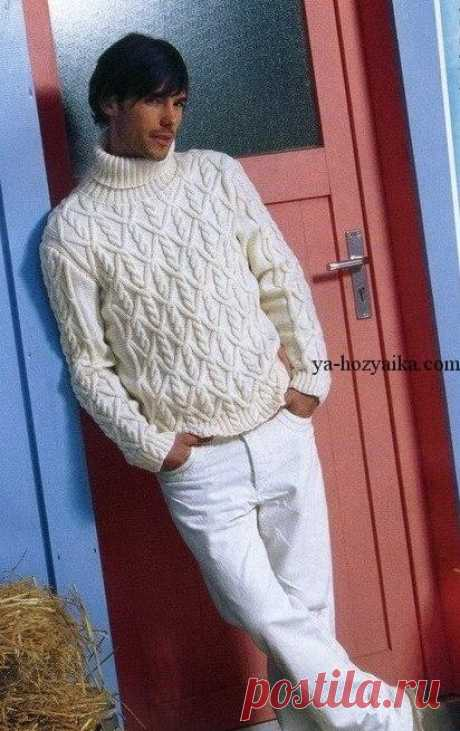 Красивый мужской свитер спицами схема. Вязание спицами для мужчины Красивый мужской свитер спицами схема. Красивый арановый свитер спицами для мужчины