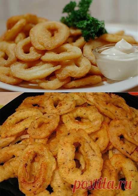 Кальмары (или луковые ) в кляре - отличная закуска!.
