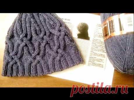 Мужская шапка спицами.Часть1.Men's hat with knitting needles.Part1.
