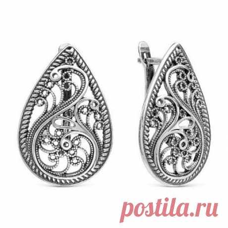 Серьги 3308040 серебро, без вставок, производитель Красная Пресня - купить в интернет-магазине Серебряная птица