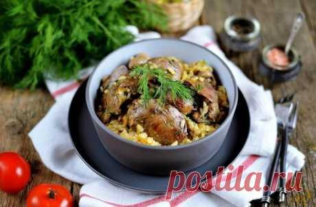 Рис с печенью и грибами