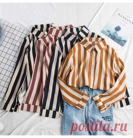 Полосатая стильная рубашка, разные цвета, бесплатная доставка #одежда #мода #рубашка