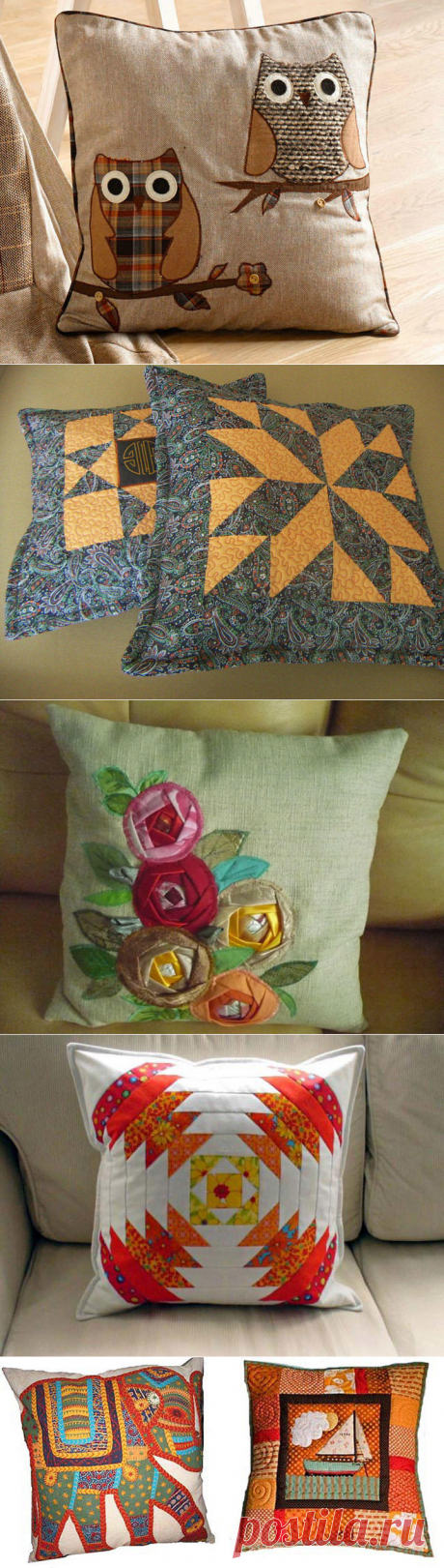 Pillow patchwork: scrappy equipment, schemes for sewing, a photo, style a patchwork the hands, ideas of a pillowcase, decorative cushions, video