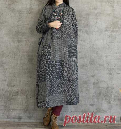 Women's winter dress, vintage cardigan with velvet dress, casual robes Cotton fabric with velvet inside. Very soft and comfortable cotton coat. Side straps, The button is a dark button. Pockets on both sides. 【Fabric】 cotton 【Color】 picture color 【Size 】 Shoulder width 40cm / 16 Bust 110cm / 43 Sleeve length 56cm / 22 Length 120cm/ 47 Hem 142cm/ 55  Have any