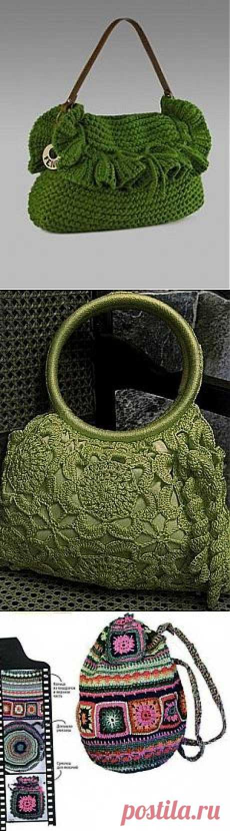 Ажурные вязанные сумочки.