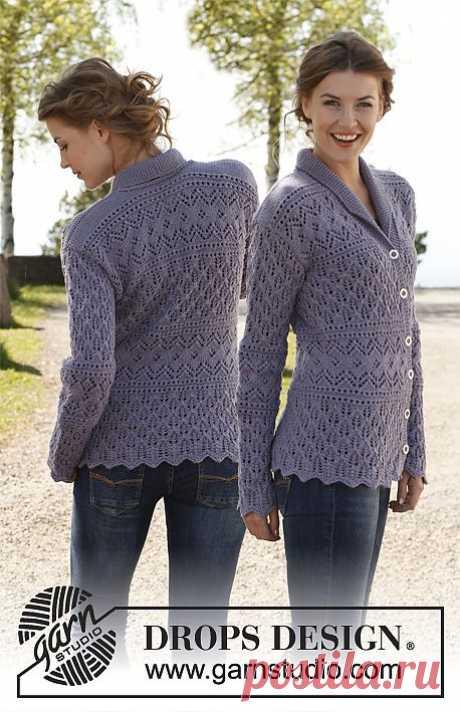 "DROPS jakke med talje i ""Karisma"" med hulmønster og sjalskrave. Str XS - XXXL ~ DROPS Design"