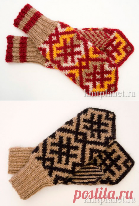 Mittens with jacquard patterns. Schemes of knitting.