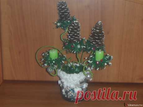 Мастер-класс «Новогодний топиарий со свечками»