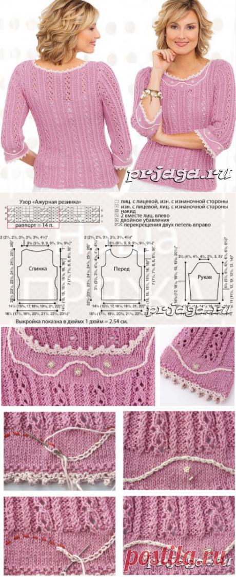 Ажурный свитер спицами с отделкой-пико