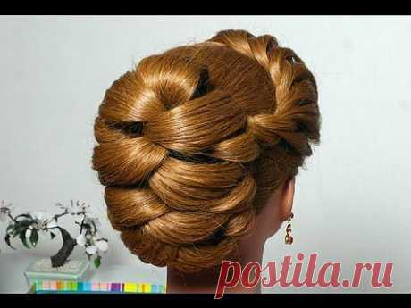 "▶ Вечерняя прическа с плетением косы ""жгут"". Evening hairstyle for long hair with twist braid - YouTube"